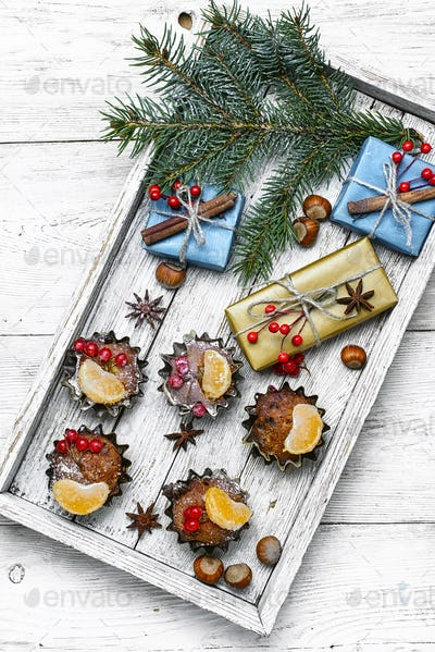 Christmas cupcakes and gifts