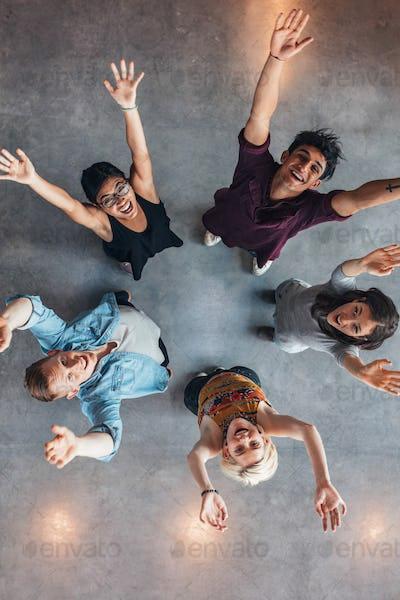 University students cheering