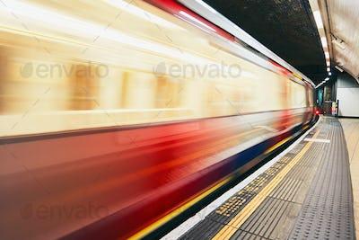 Underground train on the move