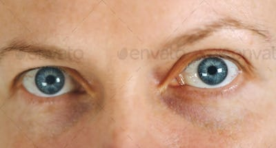 Blue adult female eyes without make up
