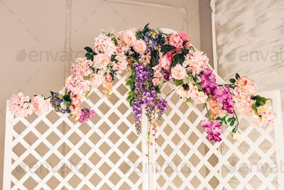 White old-fashioned folding screen decorated flowers