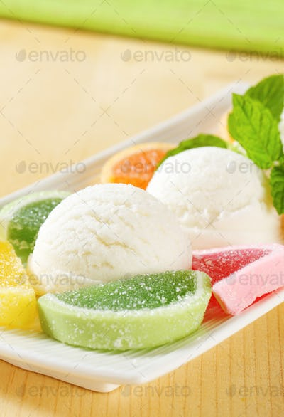 Ice cream with jelly candy