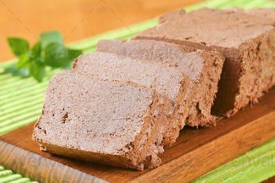 Sliced chocolate halva