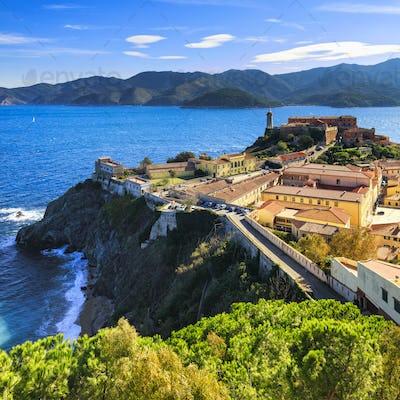 Elba island, Portoferraio aerial view. Lighthouse and fort. Tusc