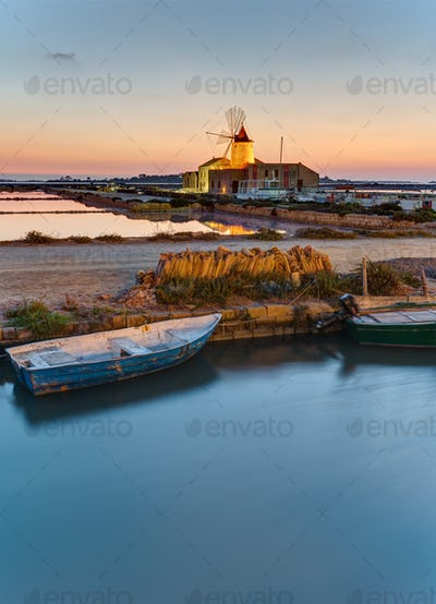 Dawn at the saltpans of Marsala