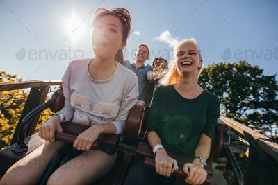 Enthusiastic young friends on roller coaster ride