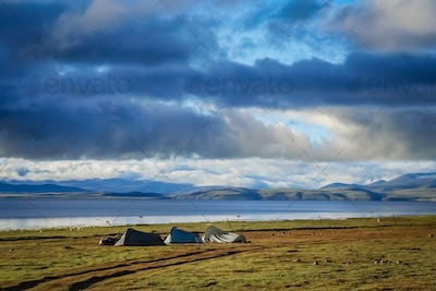 Tents pitched on the shore of Lake Manasarovar