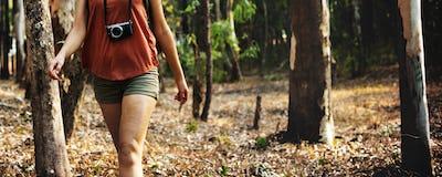Woman Traveling Destination Trekking Adventure Concept