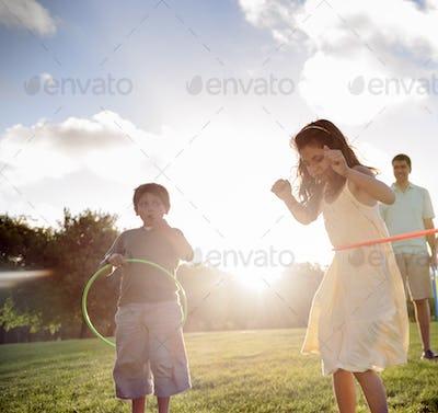 Hula Hoop Enjoying Cheerful Outdoors Leisure Concept