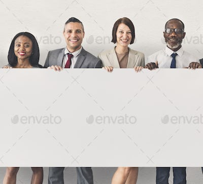 Business People Holding Information Board Concept