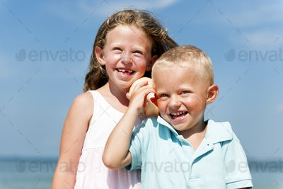 Child Brother Sister Kids Elementary Age Beach Concept