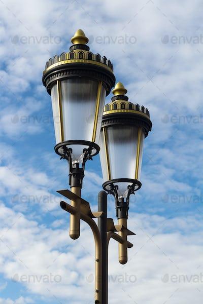Public illumination lights with blue sky