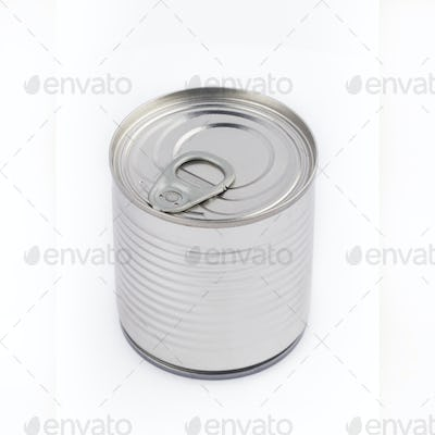 top view of metal can on white background