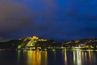 Koblenz Rhine And Ehrenbreitstein At Night