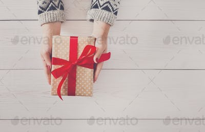 Woman's hands give christmas gift in present box