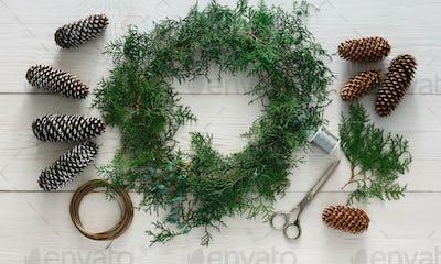 Creative diy hobby. Handmade craft christmas decoration, ornament and garland