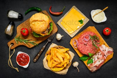 Fast Food Cooking Ingredients with Burger Sandwich