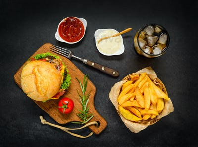 Fast Food Burger with Cola and French Fries