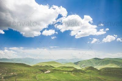 landscape with mountains and sky