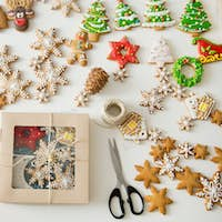 Creative gift wrap of sugar cookies on a white desk