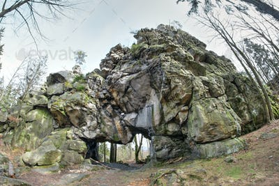 Large stone gate at the ruins of the castle Milstejn