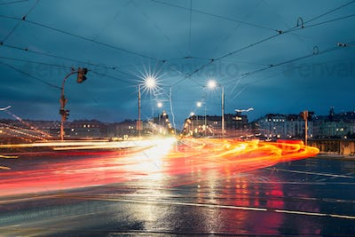 Light trails in the city