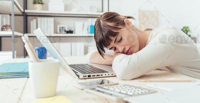Woman napping at work