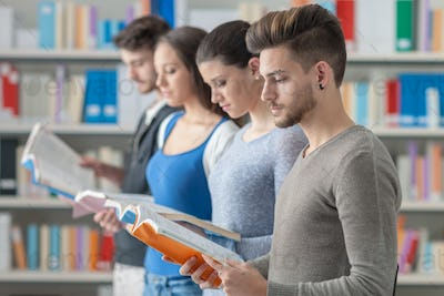 Group of students in the library