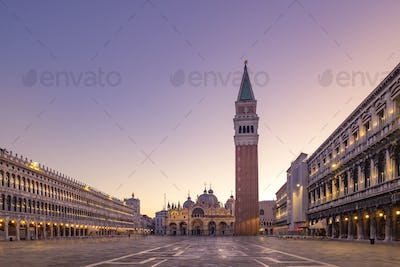 Scenic view of Piazza San Marco in Venice at sunrise