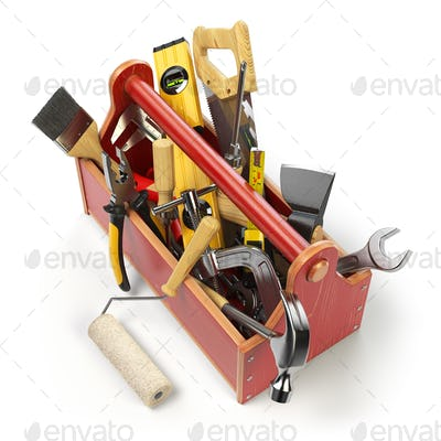 Wooden toolbox with tools isolated on white. Skrewdriver, hammer