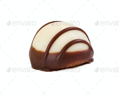 Candy of white chocolate with dark chocolate icing