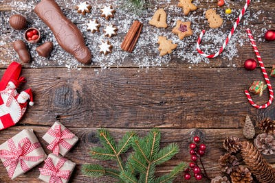 Festive Christmas background with sweets and decoration