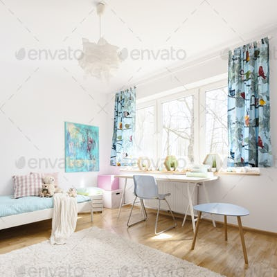Bright and airy room with light furniture,