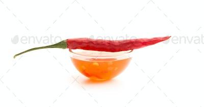 Red chili pepper and chili sauce.