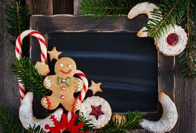 Christmas cookies on chalk board background