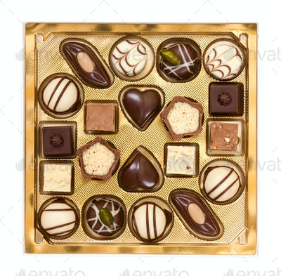 Set of chocolates in box