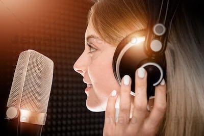 Female Voice Talent in Studio