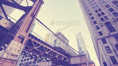 Vintage toned Chicago subway train, USA.