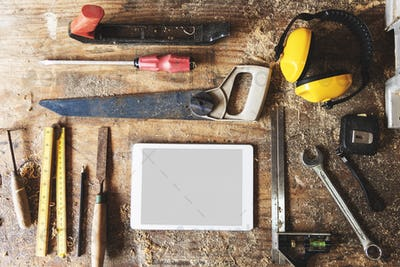 Woodeshop Timber Lumber Professional Tools Concept