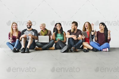 Diverse Group of People Community Togetherness Technology Concep