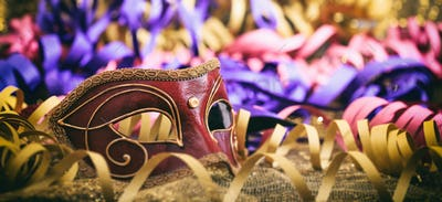 Carnival mask on colorful blur background