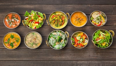 Vegan and vegetarian indian cuisine hot spicy dishes