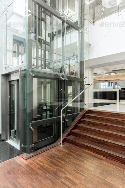 Modern corridor with wooden parquet