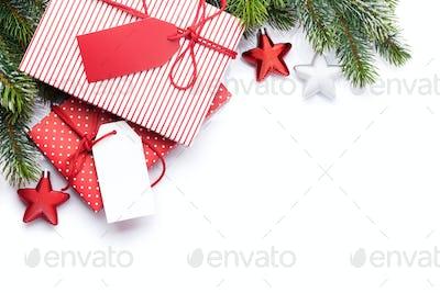 Christmas gift boxes and fir tree
