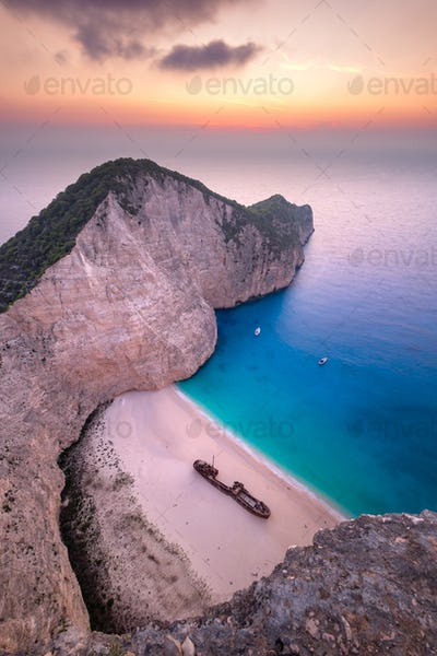 Landscape view of famous Shipwreck (Navagio) beach on Zakynthos