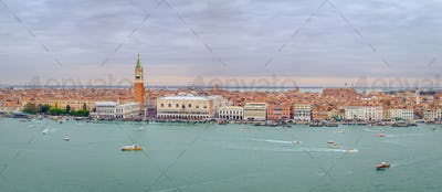 Panoramic cityscape view of Venice lagoon, Italy