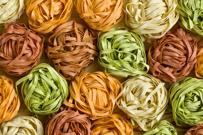 colorful pasta tagliatelle
