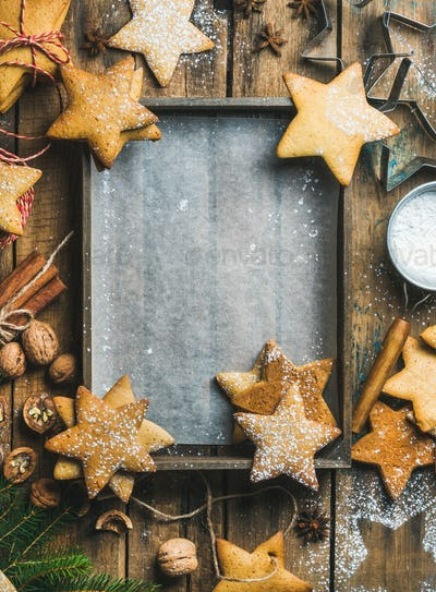 New Year background, wooden tray with baking paper in center