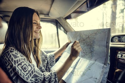 Girl Map Road Trip Travel Concept