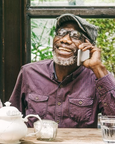 Senior Man Using Smart Phone Connection Concept